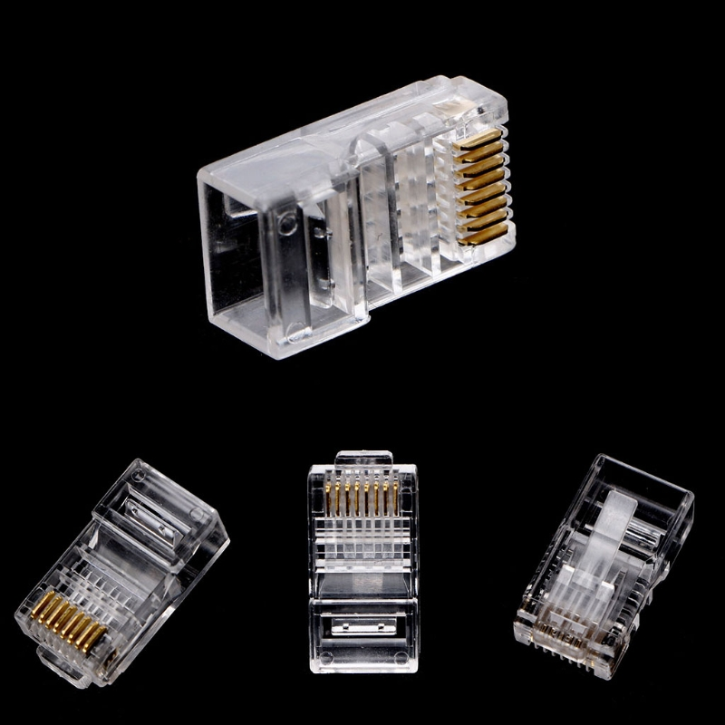 100Pcs RJ45 8-Pin Connector CAT6 Network Cable Modular Ethernet Crystal Plugs - L059 New hot