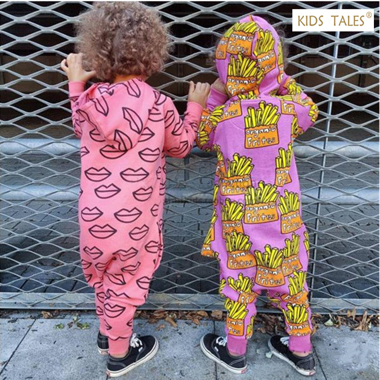 New Autumn Baby Rompers Cute Cartoon Printed Hooded Romper Baby Girl Clothes Children Kids Jumpers Boys Girls Outfits Clothes