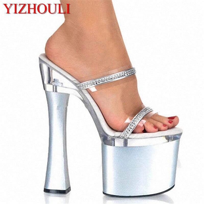 18 Femmes De Argent Chaussures Luxe À Épais Princesse forme Talons Hauts Cristal 7 Pouce Diamant Sexy Sandales Haute Cm Plate Pantoufles addqwnrR