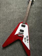 Pabrik kustom 22 frets terbang V gitar listrik klasik merah, dapat disesuaikan sebagai permintaan, pengiriman gratis