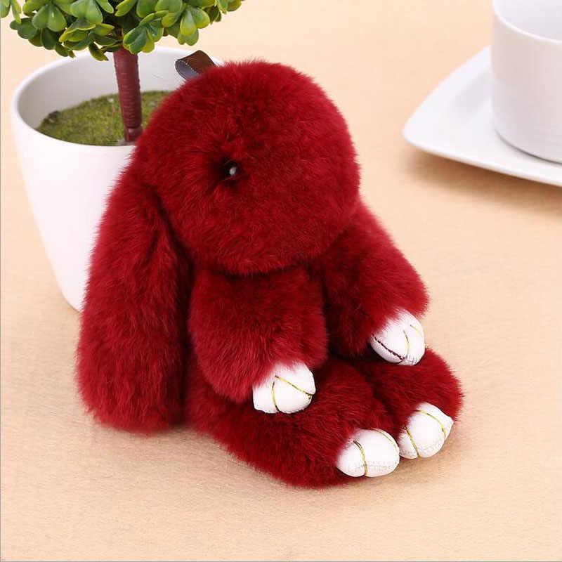 18 เซนติเมตรกระต่าย Bunny กระต่าย 100% Natural Natural Rex กระต่าย Fur Womens กระเป๋า Charms หรือจี้รถคุณภาพดีขนสัตว์กระต่าย