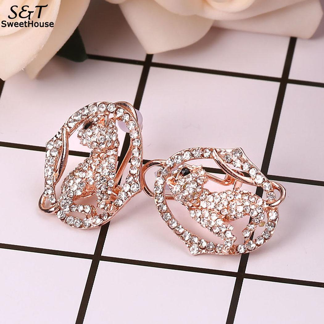Women New Fashion Jewelry Trendy Artificial Diamond Earrings Charm Wedding Gift