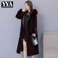 High Quality Women Winter Warm Faux Fur Coat Plus Size Fluffy Long Jacket Faux Sheep Shearing Overcoat Lady Loose Fit Outerwear