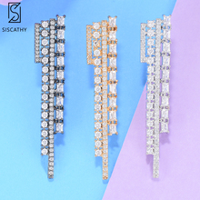 SisCathy Fashion Long Women Earrings Cubic Zirconia Statement Drop Dangle Wedding Bridal Jewelry Original Brand