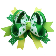 Adogirl 10pcs 5 Inch Saint Patricks Day Hair Bows Clover Print Ribbon Handmade Boutique Accessories High Quality Clip