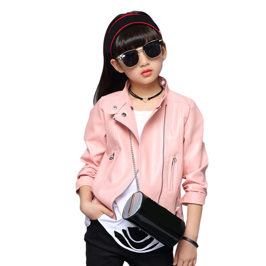 Girls Leather Jackets for Kids Solid Coats Autumn Children Outerwear for Girls Brand Clothes 4 9 10 12 Years Girls Leather Coats