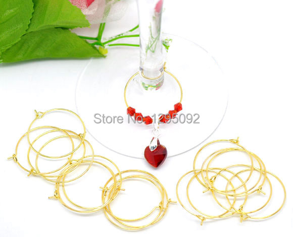 100Pcs Gold Plated Alloy Wine Glass Charms Rings / Earrings Wire Hoops DIY Jewelry Findings Component Wholesale 29x25mm
