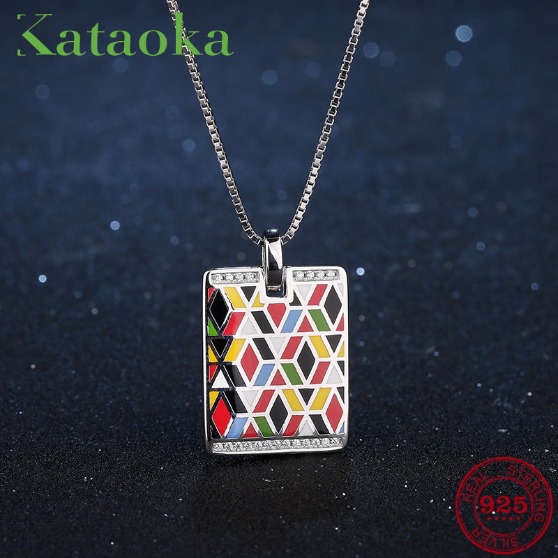 Women Pendants 2018 New arrival Rectangle European style 925 Sterling Silver Charm For Women Necklace Enamel Party JewelryWomen Pendants 2018 New arrival Rectangle European style 925 Sterling Silver Charm For Women Necklace Enamel Party Jewelry