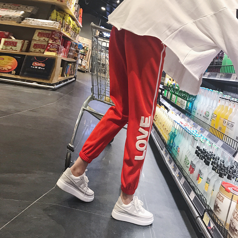 2019 Summer Women Pencil   Pants   Ulzzang Fashion Printing LOVE Long   Pant   Casual Loose Trousers Thin Elastic Waist   Pants   &   Capris