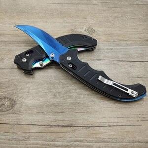 Image 5 - Dropshipping Taktische CSGO Echte klapp flip Messer verblassen farben Klinge blau Taktische camping messer für überleben G10 griff