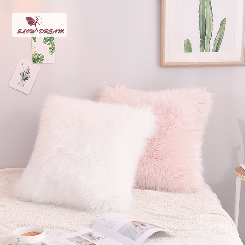 Housse de coussin en peluche blanche et rose de Style nordique slow dream housse de coussin en fourrure douce taie d'oreiller décorative canapé siège de voiture taie d'oreiller