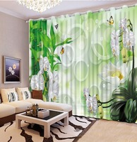 Custom any size 3d curtains printed bamboo butterfly blackout curtains flowers decorative home decor