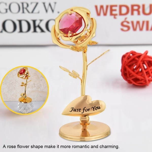 Red Crystal 24 K Golden Plated Rose Flower Mounted Ornament Commemorate Gift Box Car