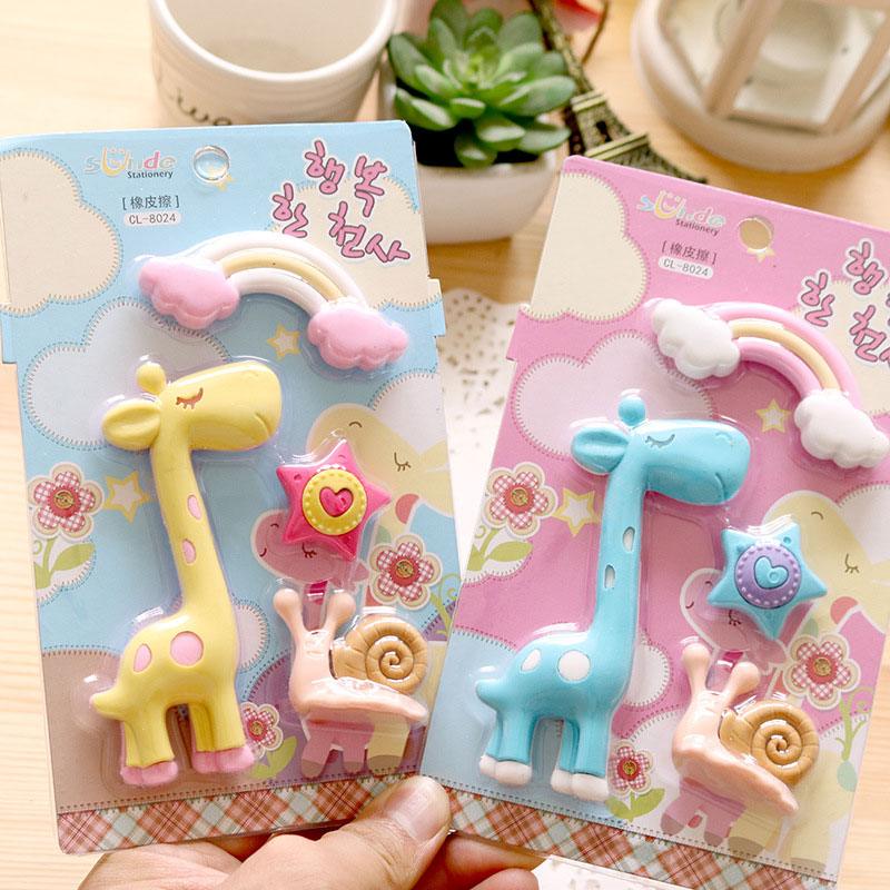 4 Pcs/set Cute Giraffe&Rainbow&Snail&stars Rubber Eraser Kawaii Creative Stationery School Supplies Papelaria Gift For Kids