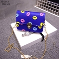 Mara's Dream 2017 Newest Women Colored Lip Printing Chain Handbags Fashion Cute Small Personality Shoulder Bags Messenger Bags