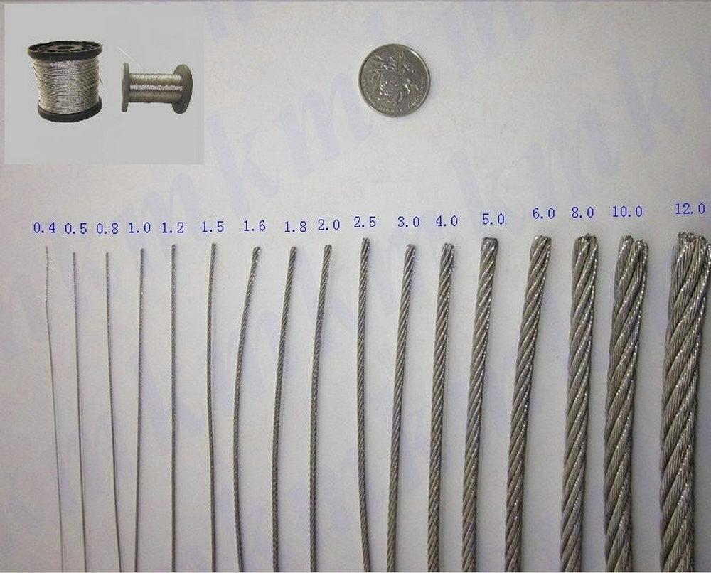 Wholesales 304 stainless steel wire rope 7X19 Structure 6.0 MM ...
