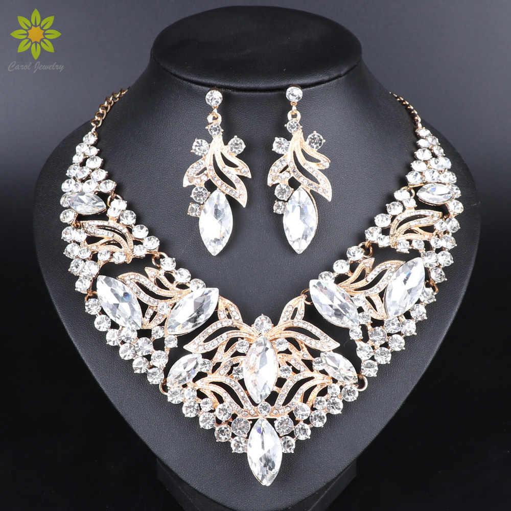 Fashion Indian Jewellery Crystal Necklace Earrings Bridal Jewelry Sets For Brides Party Wedding Costume Accessories Decoration