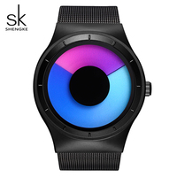 SK Unique Design Rotating Sport Mens Watch Stainless Steel Mesh Band Quartz Wristwatch For Men Waterproof