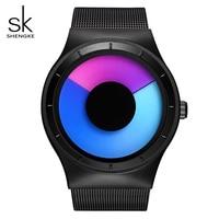 SK Unique Design Rotating Sport Mens Watch Stainless Steel Mesh Band Quartz Wristwatch For Men Waterproof