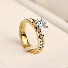 Titanium Stainless Steel Rings For Women Circle CZ  Fashion Jewelry