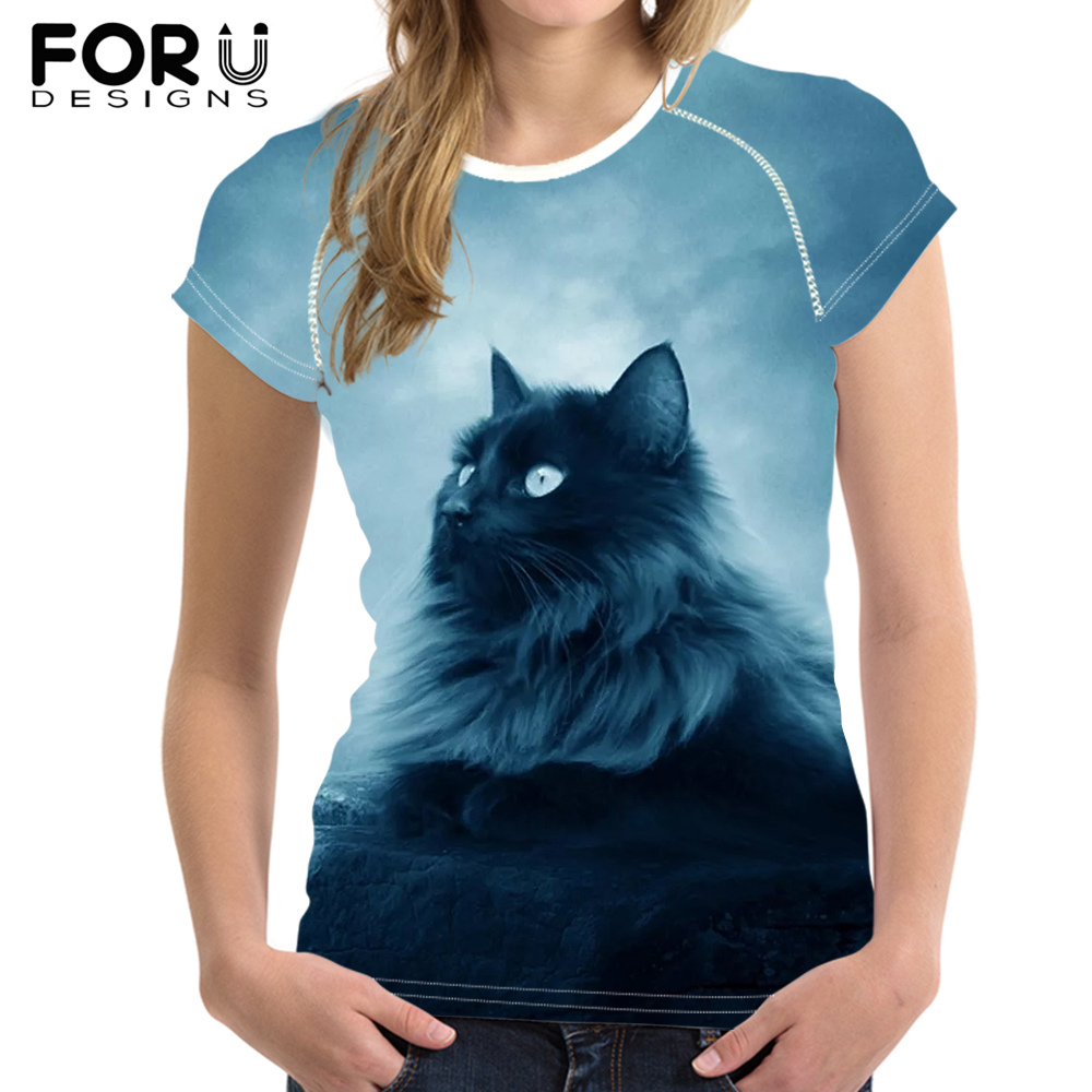 FORUDESIGNS Moon Cat Printing Summer T Shirt Women Elastic Tops Customize Image T shirt For Girls Female Cool Blue Tees in T Shirts from Women 39 s Clothing
