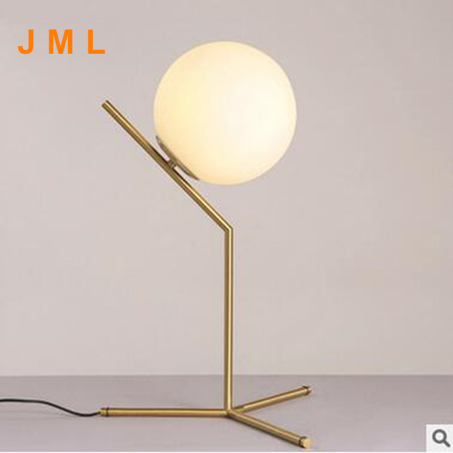 2017 New Modern Nordic Creative Table Lamps Round White Glass Shade Table  Lamparas Golden Metal Stick