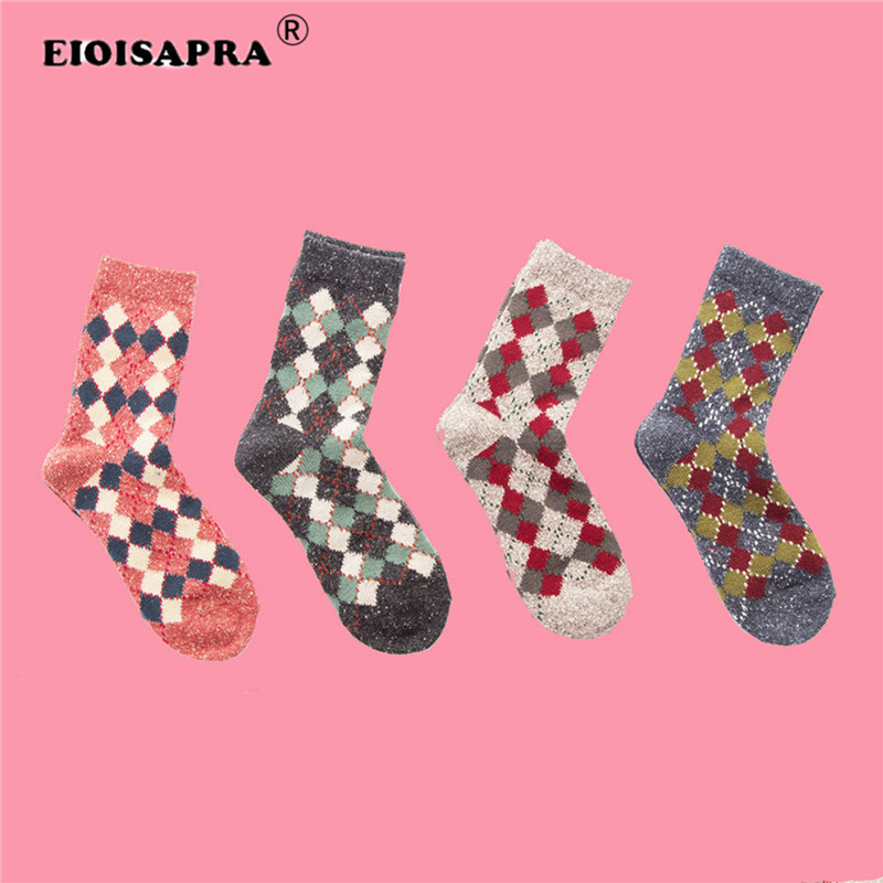 Japanese Cotton Socks Women Vintage British Street Style Short Wind Plaid Crew Pile Of Female Winter Ankle Socks Sox Humble eioisapra