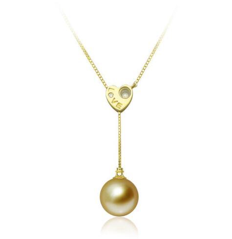 10mm or véritable mer du sud collier de perles 18 solide chaîne en or jaune