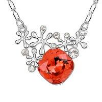 الأحمر كريستال القلائد زهرة قلادة ندفة الثلج النساء خمر قلادة الأزياء بيجو المجوهرات قلادة الاكسسوارات 3 ألوان