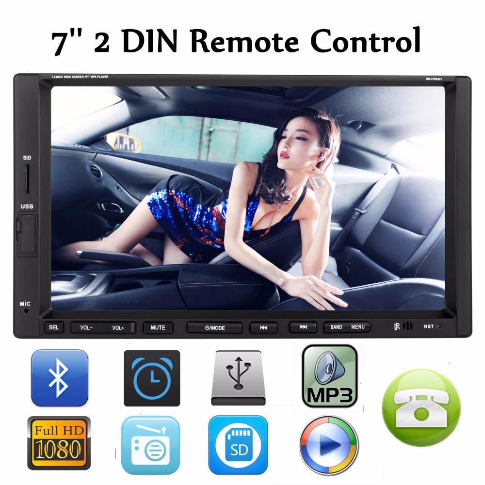 7 Car Bluetooth Stereo FM Radio MP3 MP5 DVD Multimedia Player 2 Din Support USB CD