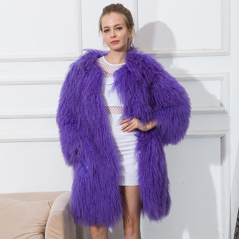 Mulheres casacos de pele de ovelha casaco de pele de cordeiro bronzeado CNEGOVIK curto casaco de pele de Ovelha 75 cm Mongólia Ovinos Fur real fur casaco