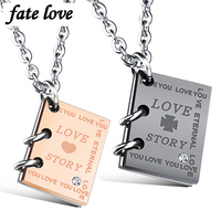 Stainless Steel Necklaces For Lovers Fashion Jewelry Love Story Couple Necklace Pendants His And Hers Promise