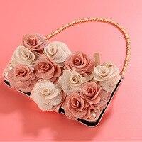 עבור iphone 6 6 s 7 8 בתוספת X אופנה יוקרה בנות 3D רוז פרח Flip עור ארנק תיק טלפון שרוך כיסוי
