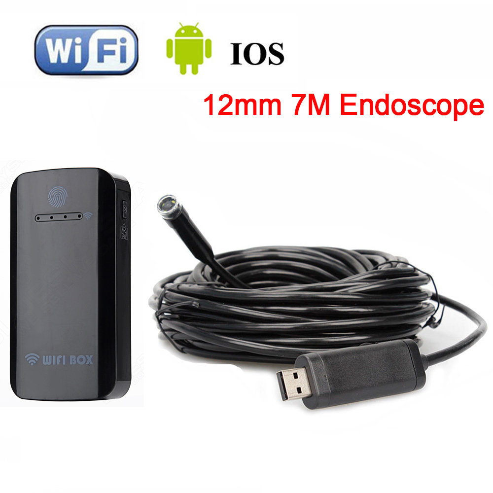 все цены на 12mm 7M Endoscope Waterproof Inspection Camera USB For Windows XP/Vitsa+Wireless WIFI BOX For IOS And Android Free shipping