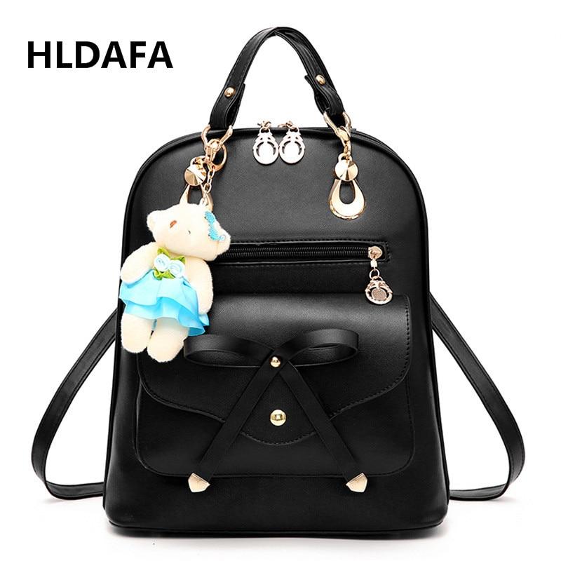 HLDAFA Brand Shoulder Bag 2017 New Tide Female Backpacks Summer Student Fashion Casual Bear Women Bag