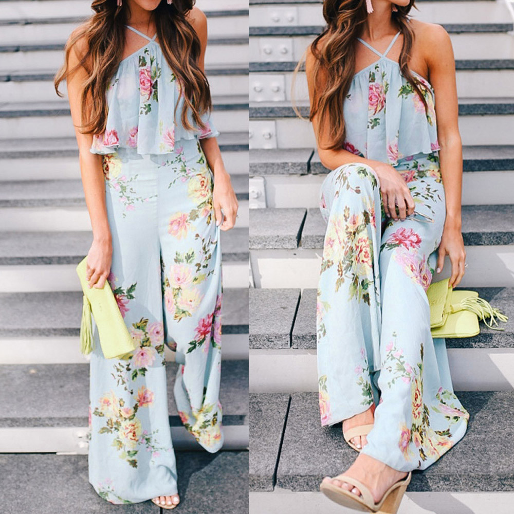 2018 Women Summer chiffon Strap Floral Sleeveless Backless Long Wide Leg Trousers Bohemian floral printed   jumpsuit   #0720