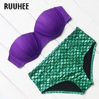 RUUHEE Brand 2017 Sexy Bikinis Women Swimsuit Push Up Bikini Set Swimwear Bandage Halter Patchwork Retro