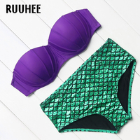 RUUHEE Brand 2017 Sexy Bikinis Women Swimsuit Push Up Bikini Set Swimwear Bandage Halter Patchwork Retro
