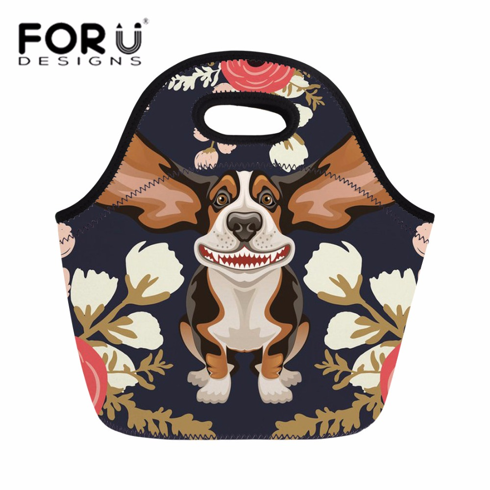 FORUDESIGNS Lunch Bag for Women Florar Hound Design Picnic Food Fruit Bag Ladies Portable Hand Tote Kids Thermal Lunch Box Snack