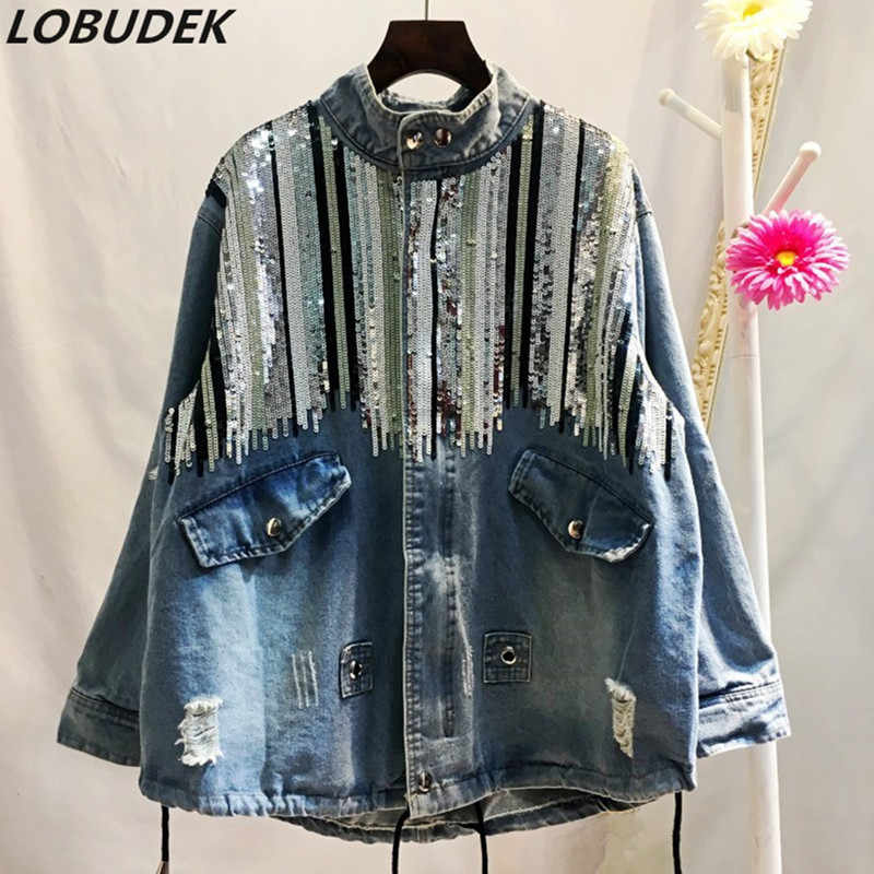 Plus Size Women Autumn Sequined Jean Jacket Oversize Loose Sequins Denim Outerwear Korean Style Lady Jean Coat Denim Overcoat