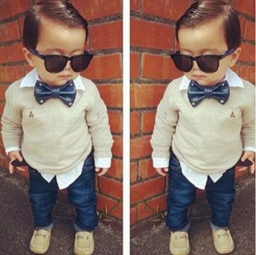 Alta calidad niños boutique ropa 2 unids set. Niños Caballero lazo falso de  dos piezas camiseta + jeans guapos ST102 - Blog Store a012300381a