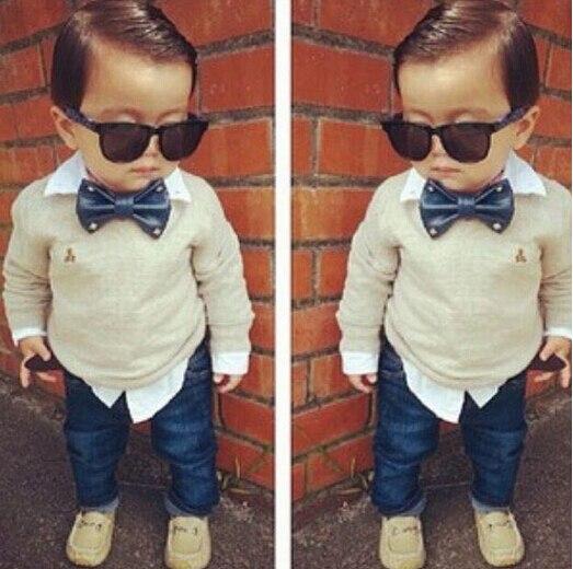 ST102 Бесплатная доставка 2014 мальчик установленные одежды с галстуком-бабочкой twinset с длинным рукавом джинсовой набор топ + джинсы дети clothjing набор ребенок набор