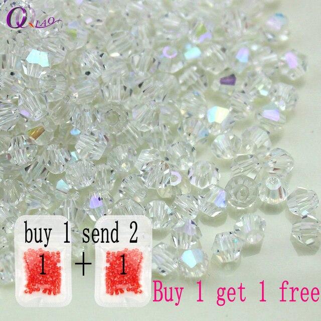 Acheter 1 et obtenir 1 livraison total 200 pcs Coloré 4mm Toupie Cristal Perles de Verre En Vrac Spacer Perles bracelet Bijoux Faisant DIY