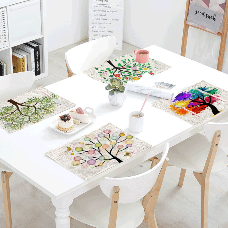 Watercolour Trees Linens Table Napkins Tea Placemat Place Mat Polyester Leaves Blister Servilletas Para Bodas Design Party Decor