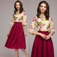 women autumn knee-length dress Hot sale O-neck 3/4 sleeve printing A-Line dress with ruffles Elegant women Summer vestidos