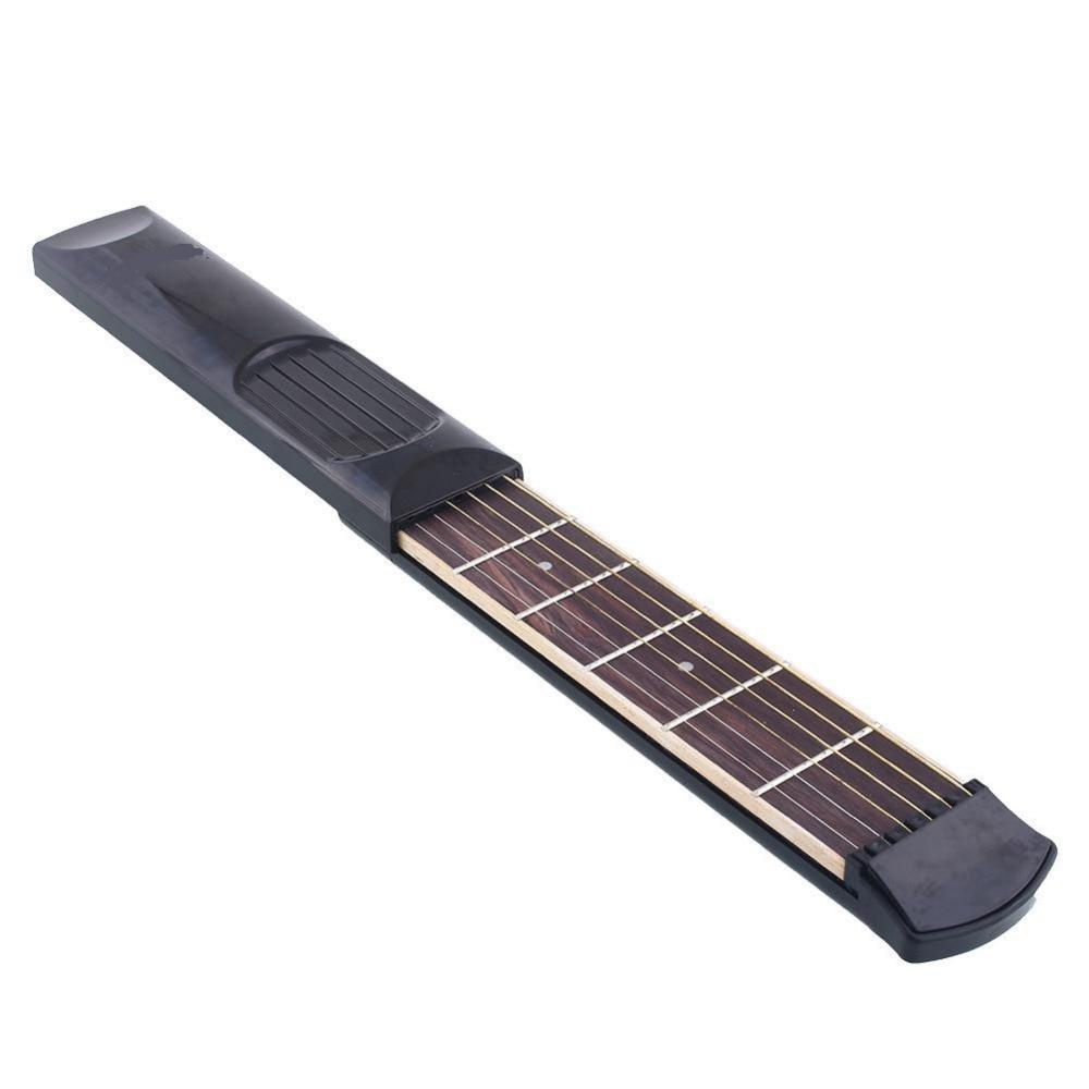 Portable Pocket Guitar Practice Tool Gadget 6 Fret Strings W/Bag Pick Allen Key For Beginner Student Small-size