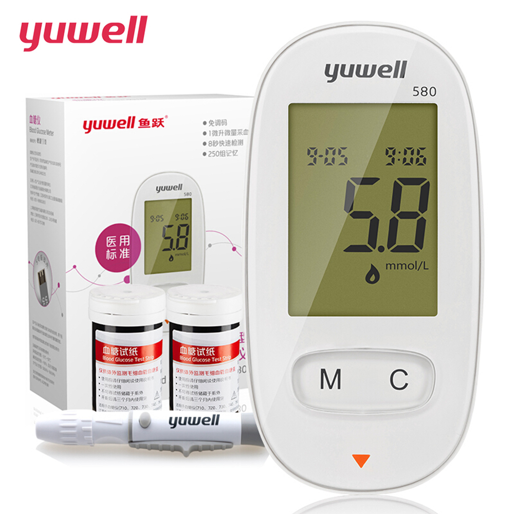 yuwell Glucometer Diabetes Blood Glucose Meter Monitor Kit Medical Blood Sugar Meter Tester 50 Pcs Glucose Test Strips Lancets cofoe yice 100 pcs test strips and 100pcs needles lancets only strips without device for diabetes blood collection medical tools