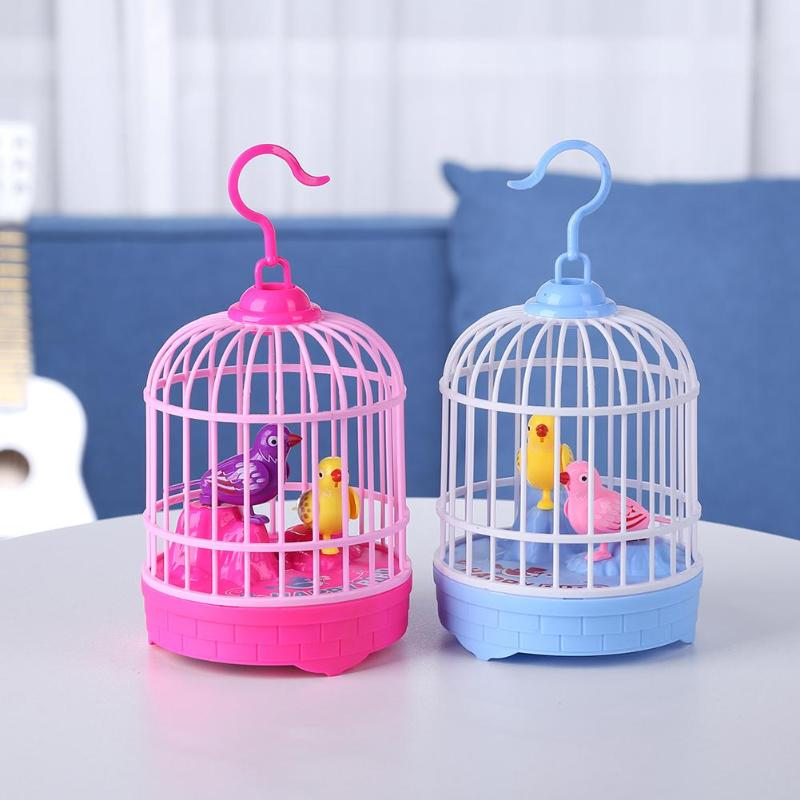 Voice Control Electric Simulation Induction Sing Bird Cage Birdcage Toy