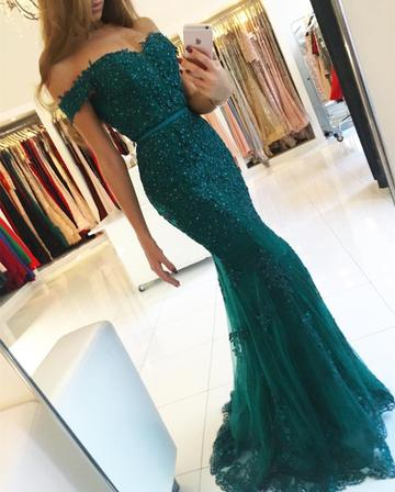 Stunning Green Evening Long   Dresses   Beaded Tulle Off Shoulder V-neck Mermaid   Prom     Dress
