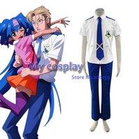 Macross Frontier Mihoshi Academy Boys School Uniform Cosplay Costume For Halloween Summer Uniform Dress Set With Tie